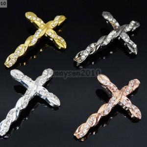 10-Pcs-Twisted-Side-Ways-Crystal-Rhinestones-Cross-Bracelet-Connector-Charm-Bead-261217264740