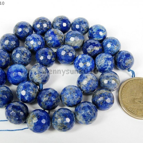 10MM TREATED LAPIS LAZULI GEMSTONE ROUND LOOSE BEADS 15.5/""