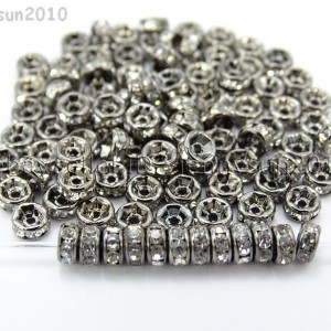 100P-Czech-Crystal-Rhinestone-Gunmetal-Rondelle-Spacer-Bead-4mm-5mm-6mm-8mm-10mm-261044024125