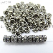 100P-Czech-Crystal-Rhinestone-Gunmetal-Rondelle-Spacer-Bead-4mm-5mm-6mm-8mm-10mm-261044024125-5
