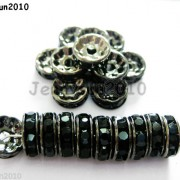 100P-Czech-Crystal-Rhinestone-Gunmetal-Rondelle-Spacer-Bead-4mm-5mm-6mm-8mm-10mm-261044024125-d58f