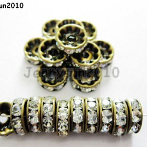 100P-Czech-Crystal-Rhinestones-Bronze-Rondelle-Spacer-Beads-4mm-5mm-6mm-8mm-10mm-261043498794