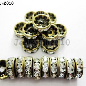 100P-Czech-Crystal-Rhinestones-Bronze-Rondelle-Spacer-Beads-4mm-5mm-6mm-8mm-10mm-261043498794
