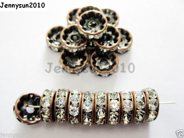 100Pc-Czech-Crystal-Rhinestone-Copper-Rondelle-Spacer-Beads-4mm-5mm-6mm-8mm-10mm-261043531202