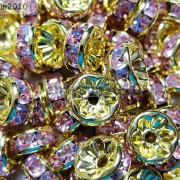 100Pcs-Czech-Crystal-Rhinestones-Gold-Rondelle-Spacer-Beads-4mm-5mm-6mm-8mm-10mm-261044485528-f2fc