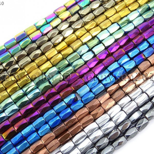 100Pcs-Natural-Magnetic-Hematite-Gemstone-Faceted-Tube-Beads-5x8mm-Metallic-370899383533