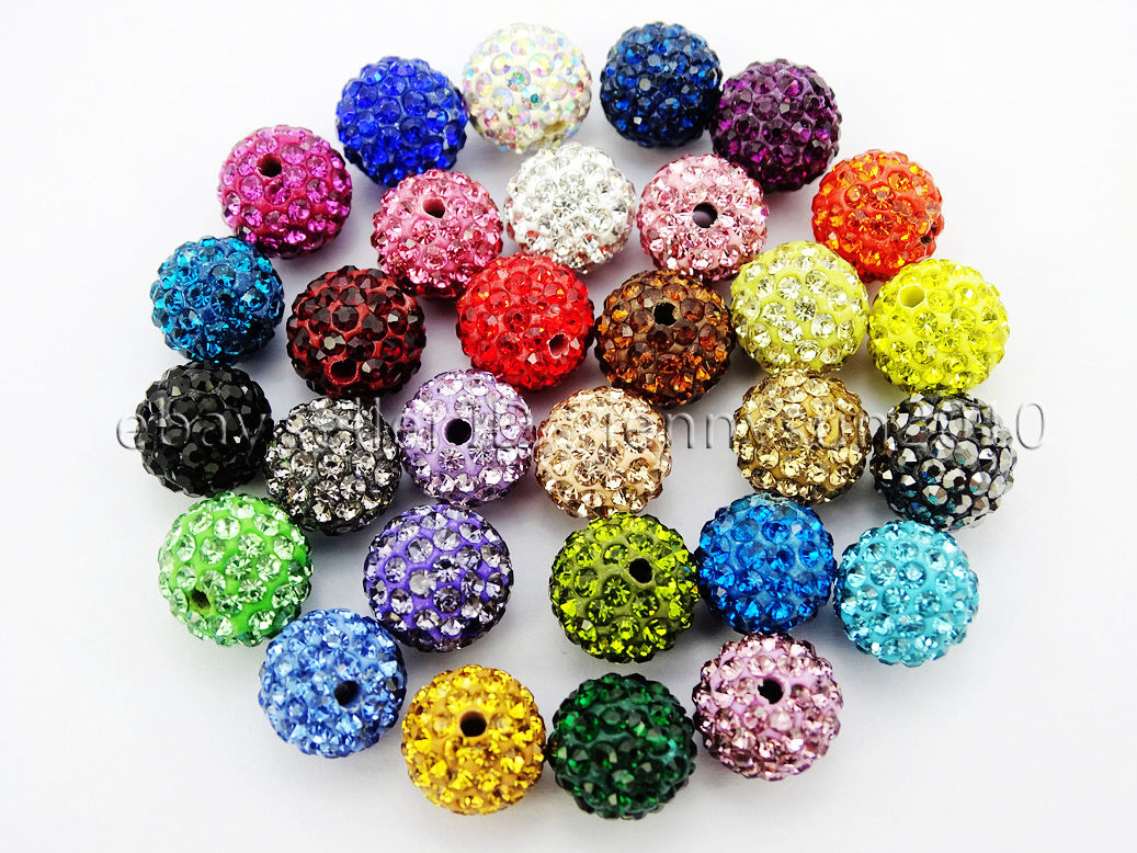Premium Czech Crystal Rhinestones AB Color Pave Clay Round Disco Ball Beads 10mm