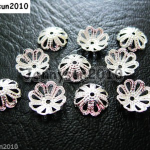 100Pcs-Silver-Plated-Over-Copper-8mm-Curved-Bead-Caps-Flower-Findings-251072670338