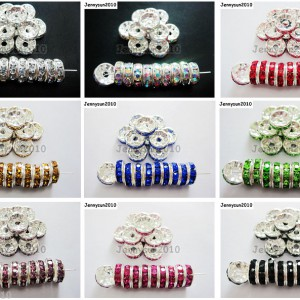 100p-Czech-Crystal-Rhinestone-Silver-Rondelle-Spacer-Beads-4mm-5mm-6mm-8mm-10mm-370784021222