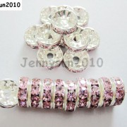 100p-Czech-Crystal-Rhinestone-Silver-Rondelle-Spacer-Beads-4mm-5mm-6mm-8mm-10mm-370784021222-be2b