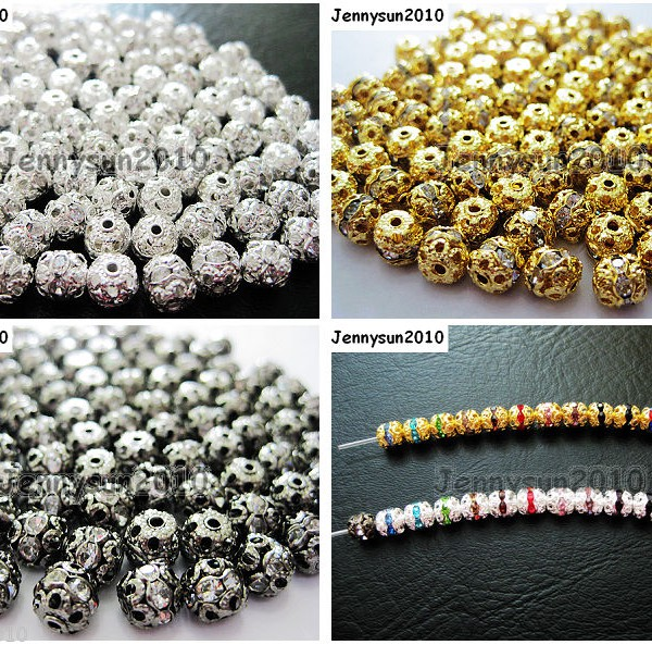 100pcs-Czech-Crystal-Rhinestones-Pave-Diamante-Round-Spacer-Beads-6mm-8mm-10mm-251087497248