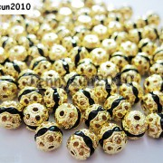 100pcs-Czech-Crystal-Rhinestones-Pave-Diamante-Round-Spacer-Beads-6mm-8mm-10mm-251087497248-78b3