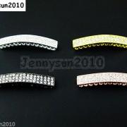 10Pcs-Curved-3-Row-Crystal-Rhinestones-Bar-Bracelet-Connector-Charm-Beads-370817605316-2