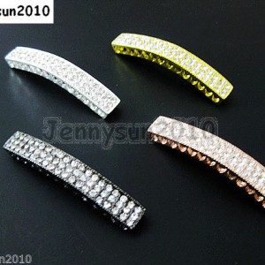 10Pcs-Curved-3-Row-Crystal-Rhinestones-Bar-Bracelet-Connector-Charm-Beads-370817605316