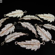 10Pcs-Curved-Side-Ways-Crystal-Rhinestones-Leaf-Bracelet-Connector-Charm-Beads-281199570414-791a
