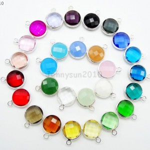 10Pcs-Czech-Colorful-Crystal-Channel-Birthstone-Pendant-Charm-Beads-Silver-Set-371328417770