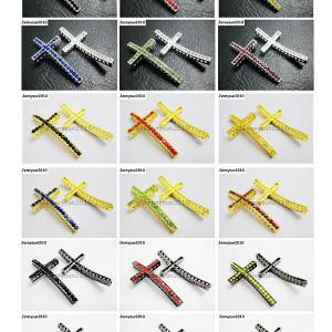 10Pcs-Long-Curved-Crystal-Rhinestones-Cross-Bracelet-Connector-Charm-Beads-370817478536