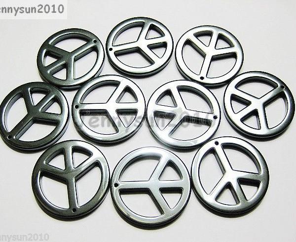 10Pcs-Natural-Jet-Black-Hematite-Gemstone-Big-Peace-Sign-Pendant-Beads-35mm-261215142736