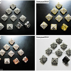 10Pcs-Rhinestones-Hip-Hop-Solid-Metal-Pyramid-Bracelet-Connector-Charm-Beads-370695479167