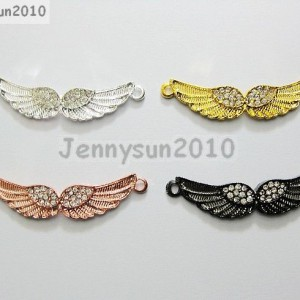 10Pcs-Side-Ways-Crystal-Rhinestones-Angle-Wings-Bracelet-Connector-Charm-Beads-370819071936