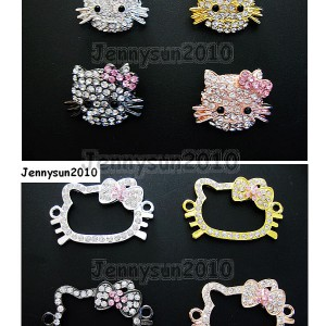 10Pcs-Side-Ways-Crystal-Rhinestones-Happy-Cat-Bracelet-Connector-Charm-Beads-261217177435