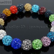 10mm-Czech-Crystal-Rhinestones-Pave-Clay-Round-Disco-Beads-Stretchy-Bracelet-281878300150-091b