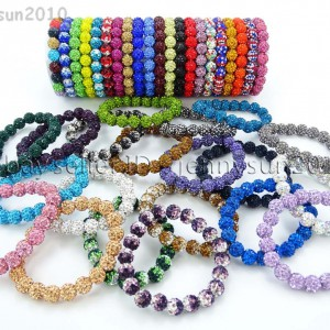 10mm-Czech-Crystal-Rhinestones-Pave-Clay-Round-Disco-Beads-Stretchy-Bracelet-281878300150