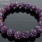 10mm-Czech-Crystal-Rhinestones-Pave-Clay-Round-Disco-Beads-Stretchy-Bracelet-281878300150-794c