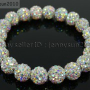 10mm-Czech-Crystal-Rhinestones-Pave-Clay-Round-Disco-Beads-Stretchy-Bracelet-281878300150-b55d