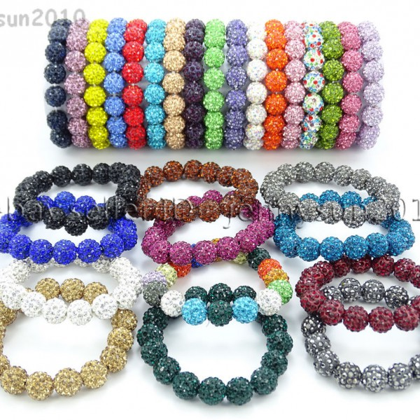 12mm-Czech-Crystal-Rhinestones-Pave-Clay-Round-Disco-Beads-Stretchy-Bracelet-281879224377