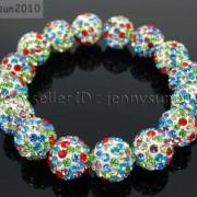 12mm-Czech-Crystal-Rhinestones-Pave-Clay-Round-Disco-Beads-Stretchy-Bracelet-281879224377-6131