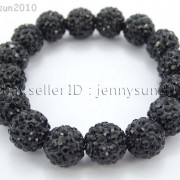12mm-Czech-Crystal-Rhinestones-Pave-Clay-Round-Disco-Beads-Stretchy-Bracelet-281879224377-9d9a