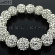 12mm-Czech-Crystal-Rhinestones-Pave-Clay-Round-Disco-Beads-Stretchy-Bracelet-281879224377-a0e5