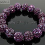 12mm-Czech-Crystal-Rhinestones-Pave-Clay-Round-Disco-Beads-Stretchy-Bracelet-281879224377-a139