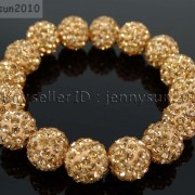 12mm-Czech-Crystal-Rhinestones-Pave-Clay-Round-Disco-Beads-Stretchy-Bracelet-281879224377-b261