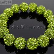 12mm-Czech-Crystal-Rhinestones-Pave-Clay-Round-Disco-Beads-Stretchy-Bracelet-281879224377-b4f5