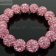 12mm-Czech-Crystal-Rhinestones-Pave-Clay-Round-Disco-Beads-Stretchy-Bracelet-281879224377-b974
