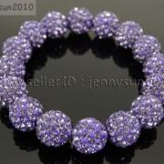 12mm-Czech-Crystal-Rhinestones-Pave-Clay-Round-Disco-Beads-Stretchy-Bracelet-281879224377-bc90