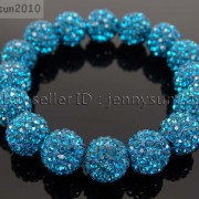 12mm-Czech-Crystal-Rhinestones-Pave-Clay-Round-Disco-Beads-Stretchy-Bracelet-281879224377-e7b5
