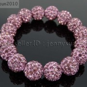 12mm-Czech-Crystal-Rhinestones-Pave-Clay-Round-Disco-Beads-Stretchy-Bracelet-281879224377-ee91