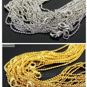 18K-Silver-Gold-Plated-Ball-Necklace-Chains-Lobster-Clasp-17-Inches-Findings-261628792422