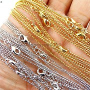 18K-Silver-Gold-Plated-Ball-Necklace-Chains-Lobster-Clasp-17-Inches-Findings-261628792422-2