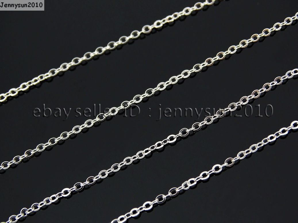 18k Silver Gold Plated Flat Oval Cable Link Chains