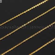 18K-Silver-Gold-Plated-Flat-Oval-Cable-Link-Chains-Lobster-Clasp-Necklace-18-281799757094-11