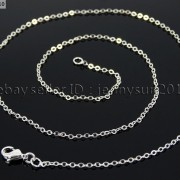 18K-Silver-Gold-Plated-Flat-Oval-Cable-Link-Chains-Lobster-Clasp-Necklace-18-281799757094-8