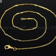 18K-Silver-Gold-Plated-Flat-Oval-Cable-Link-Chains-Lobster-Clasp-Necklace-18-281799757094-9