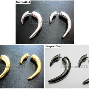 1Pair-Hot-Curved-Hook-Metal-Ear-Tunnel-Stud-Earrings-25mm-x-28mm-Pick-Colors-261015695171