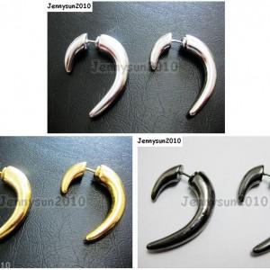 1Pair-Hot-Curved-Hook-Metal-Ear-Tunnel-Stud-Earrings-25mm-x-28mm-Pick-Colors-261015695171
