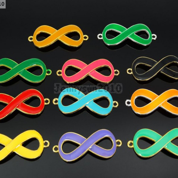 20Pcs-Colorful-Smooth-Metal-Big-Infinity-Bracelet-Connector-Charm-Beads-Mixed-370849758959