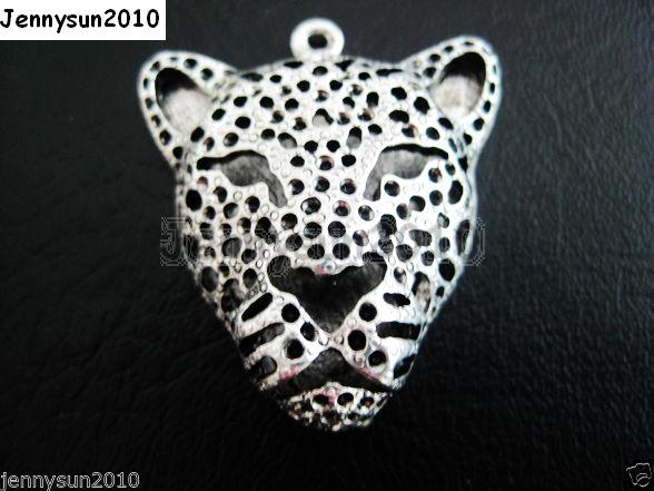 2Pcs-Vintage-Antique-Tibetan-Silver-Big-Leopard-Head-Charm-Pendant-Bead-35mm-281108121813